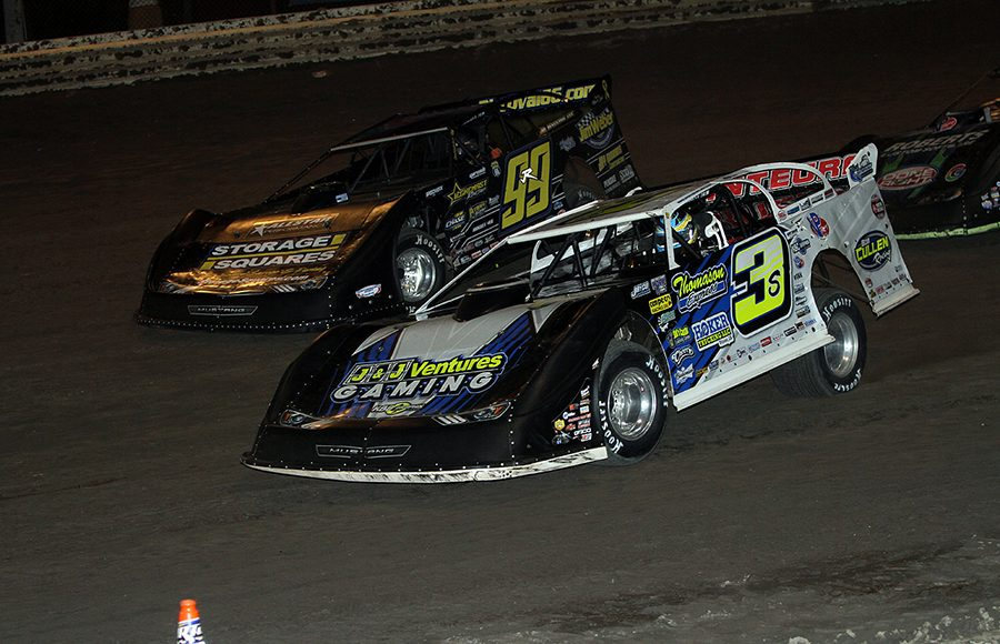 Brian Shirley (3s) and Frank Heckenast Jr. race for position during Tuesday's DIRTcar Summer Nationals event at Sycamore Speedway. (Jim Denhamer Photo)