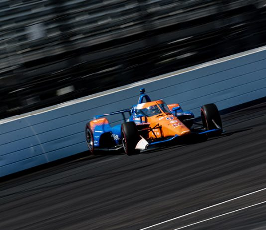 Scott Dixon's car breaks loose and spins during Sunday's Indianapolis 500 practice. (IndyCar Photo)