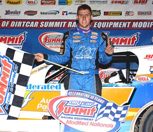 Nick Hoffman stands in victory lane after winning his 10th Summit Racing Equipment Modified Nationals feature race at Illinois's Kankakee County Speedway Tuesday night. (Stan Kalwasinski Photo)