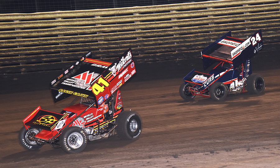 David Gravel (41) races ahead of Rico Abreu during Friday's The One and Only event at Knoxville Raceway. (Paul Arch Photo)