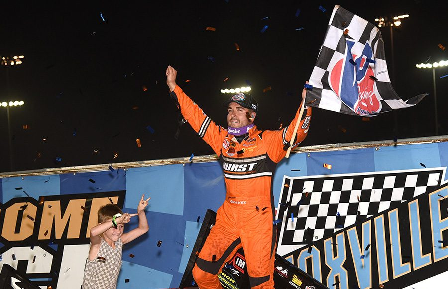 David Gravel celebrates after winning Friday's The One and Only feature at Knoxville Raceway. (Paul Arch Photo)