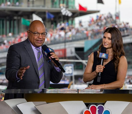 Danica Patrick (right) will return to Indianapolis Motor Speedway Sunday to once again join Mike Tirico as co-hosts of NBC's Indianapolis 500 broadcast. (IndyCar Photo)