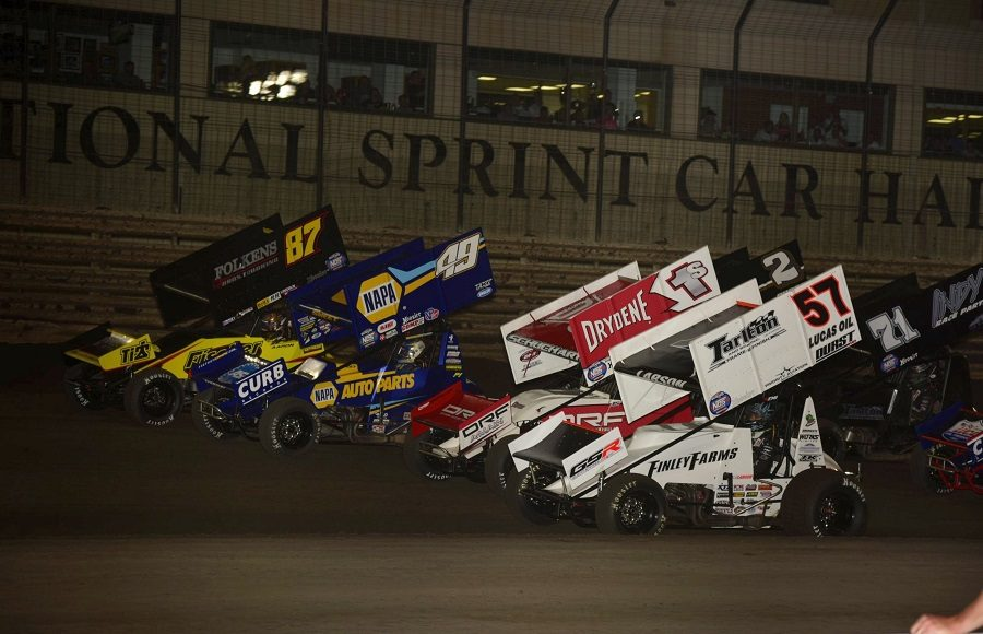 The four-wide parade lap prior to Saturday's Brownells Capitani Classic at Knoxville Raceway. (Mark Funderburk photo)