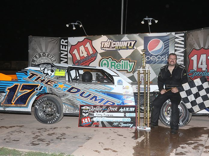 Kenny Richards went from starting 13th to being on cloud nine after his $5,000 Karl Kustoms Northern SportMod Captain of the Creek feature win at 141 Speedway. (Dan Lewis Photography)