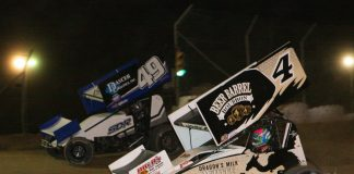 Cap Henry (4) races under Shawn Dancer at Attica Raceway Park. (Todd Ridgeway photo)