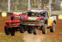 R.J. Anderson (right) makes the pass of Jerett Brooks in Friday's Pro 2 opener at the Lucas Oil Off Road Shootout Presented by General Tire. (Lucas Oil Off Road Racing Series photo)
