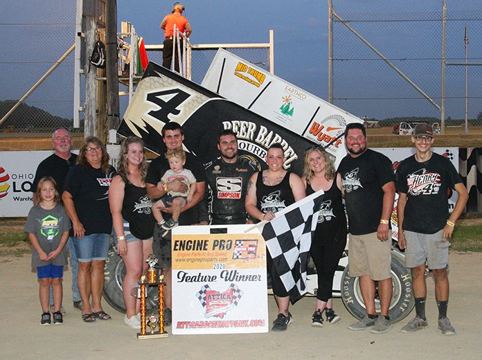 Cap Henry in victory lane Saturday at Attica Raceway Park. (Todd Ridgeway Photo)
