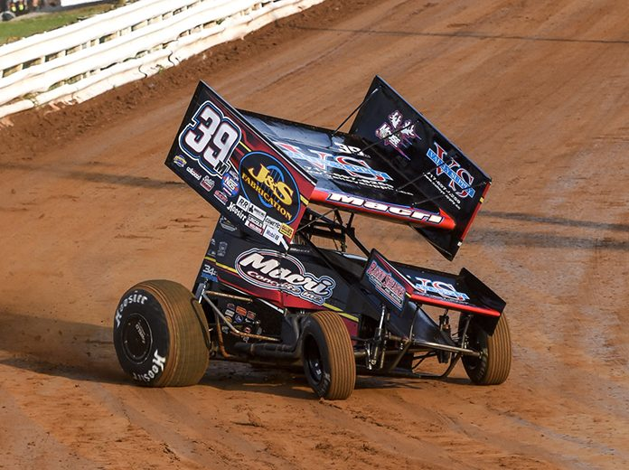 Anthony Macri, shown here at Williams Grove Speedway, was one of three 410 sprint car winners Saturday at Port Royal Speedway. (Dennis Bicksler Photo)