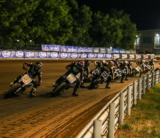 Jared Mees (9) leads Briar Bauman during Saturday's American Flat Track race at the Indiana State Fairgrounds. (AFT Photo)