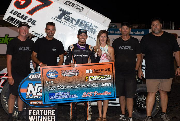Kyle Larson in victory lane at Red River Valley Speedway. (Trent Gower photo)