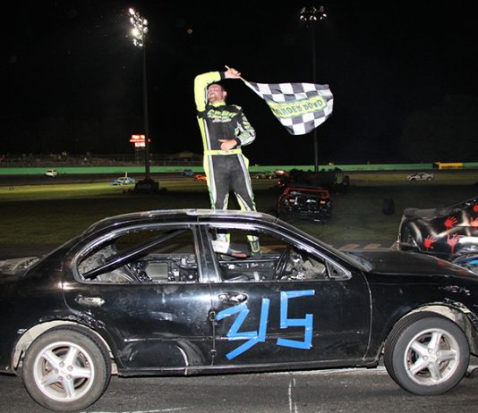 Brandon Gray celebrates his victory in the 36th Annual Bolduc Metal Recycling Enduro 200 on Sunday. (Alan Ward photo)