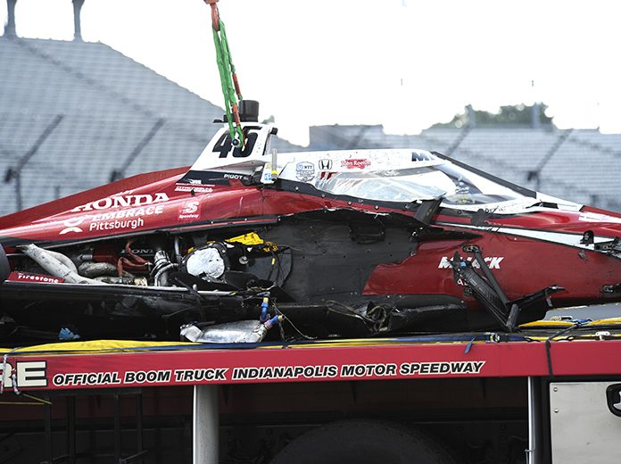 Spencer Pigot was released from the hospital Sunday after a violent crash late in the Indianapolis 500. (IndyCar Photo)