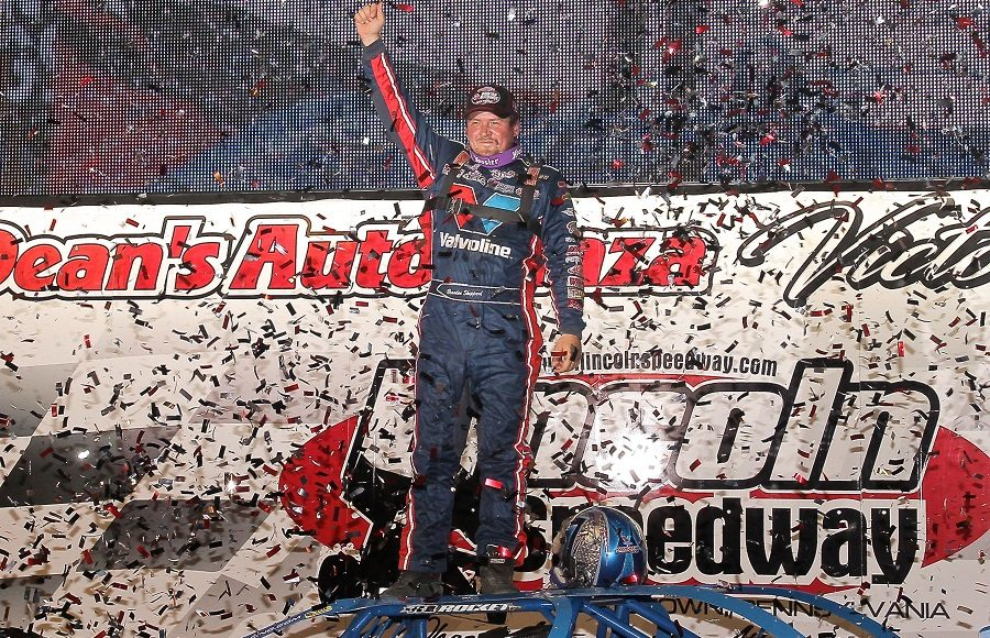 Brandon Sheppard celebrates in victory lane after winning a World of Outlaws Late Model Series feature at Lincoln Speedway. (Dan Demarco photo)