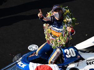 Takuma Sato in victory lane Sunday at Indianapolis Motor Speedway. (IndyCar Photo)