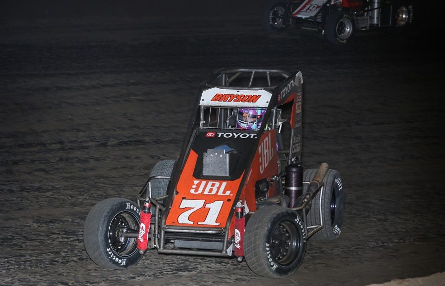 Kaylee Bryson (71) battles Ethan Mitchell during Friday's POWRi Lucas Oil National Midget League event at Lincoln (Ill.) Speedway. (Brendon Bauman photo)