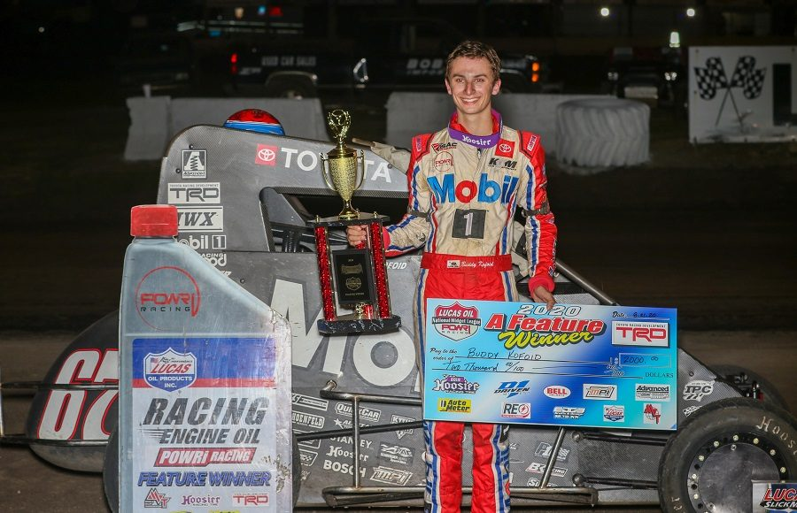 Buddy Kofoid poses in victory lane after winning Friday's POWRi Lucas Oil National Midget League event at Lincoln (Ill.) Speedway. (Brendon Bauman photo)