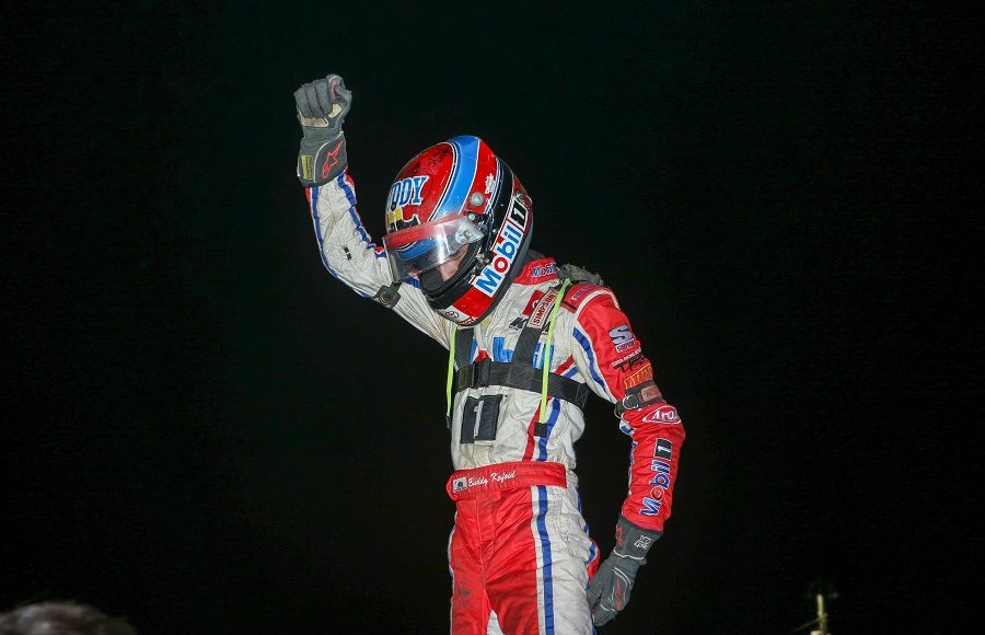 Buddy Kofoid celebrates after winning Friday's POWRi Lucas Oil National Midget League event at Lincoln (Ill.) Speedway. (Brendon Bauman photo)