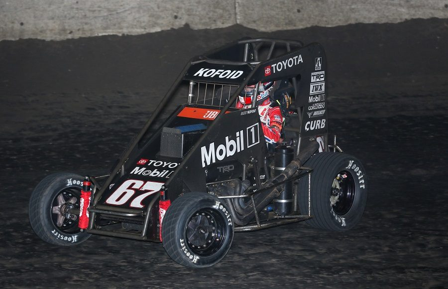 Buddy Kofoid at speed en route to winning Friday's POWRi Lucas Oil National Midget League event at Lincoln (Ill.) Speedway. (Brendon Bauman photo)