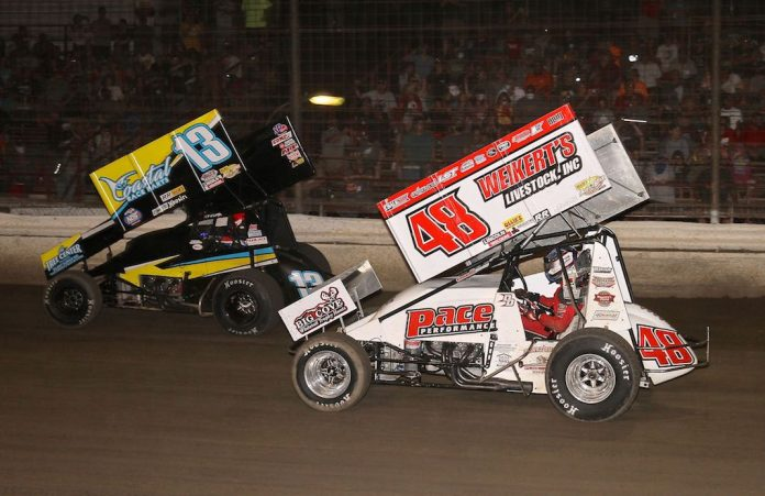 Danny Dietrich (48) races under Paul McMahan at Grandview Speedway. (Dan Demarco photo)