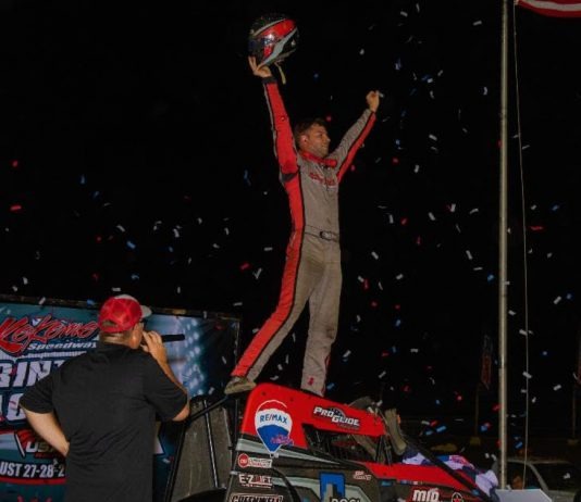 Kyle Cummins in victory lane at Kokomo Speedway. (Rich Forman photo)