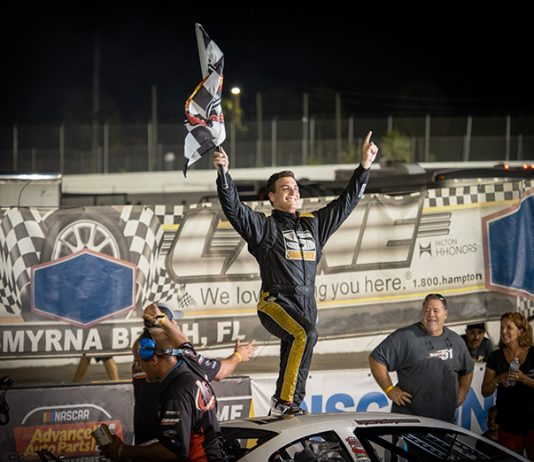 Stephen Nasse celebrates after winning Thursday's Clyde Hart Memorial 100 at New Smyrna Speedway. (Jason Reasin Photo)