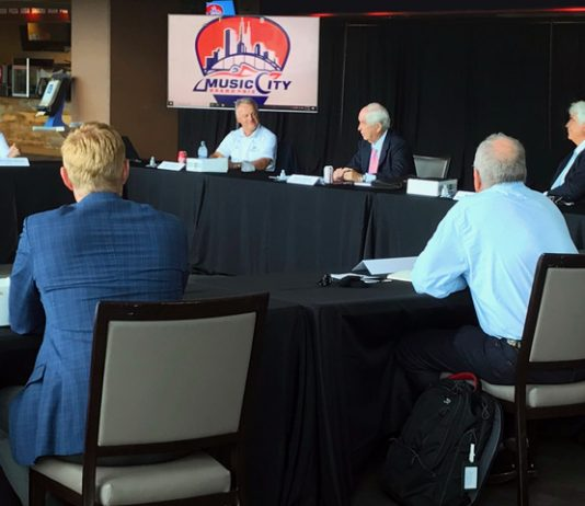 NTT IndyCar Series owner Roger Penske met with executives of the proposed Music City Grand Prix in Nashville, Tenn., earlier this week. (MCGP Photo)