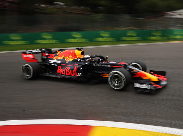 Max Verstappen paced Formula One practice Friday in Belgium. (Francisco Seco/Pool via Getty Images Photo)