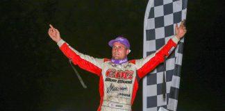 Paul Nienhiser in victory lane at Tri-City Speedway. (Brendon Bauman photo)