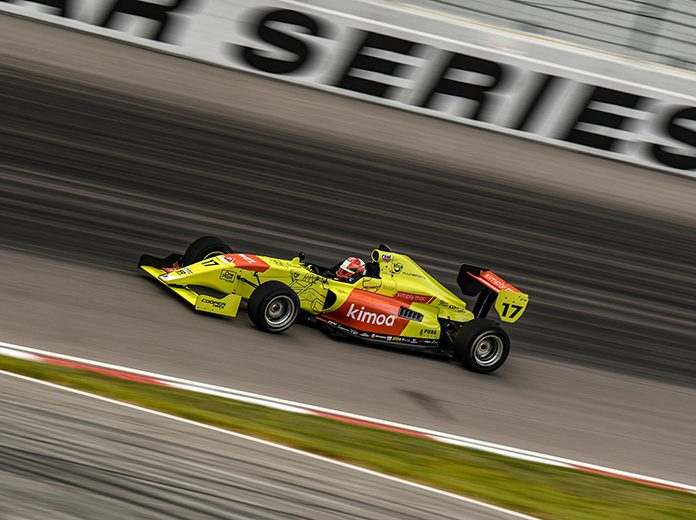 Devlin DeFrancesco on his way to victory Saturday at World Wide Technology Raceway.
