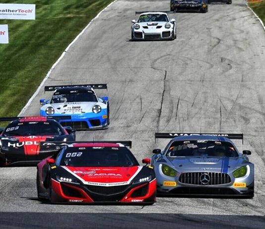 Trent Hindman and Shelby Blackstock topped Saturday's GT World Challenge America event at Road America.