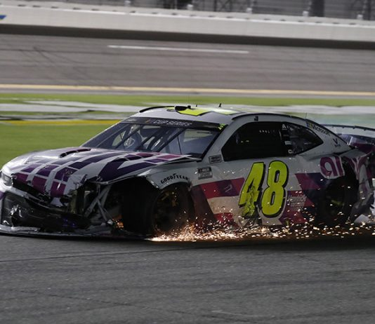 Jimmie Johnson was collected in a crash late in Saturday's Coke Zero Sugar 400 at Daytona Int'l Speedway. (HHP/Harold Hinson Photo)