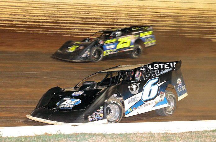 Kyle Larson (6) won Saturday's Lucas Oil Late Model Dirt Series feature at Port Royal Speedway. (Dan Demarco photo)