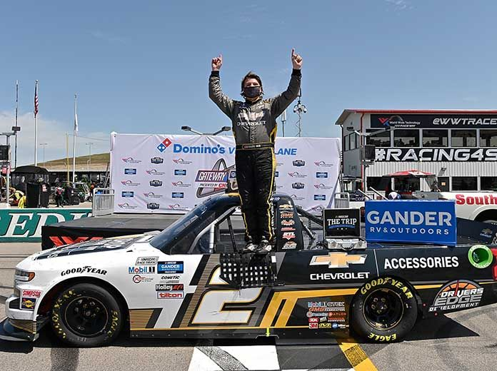 Sheldon Creed celebrates his victory Sunday at World Wide Technology Raceway. (Jeff Curry/Getty Images Photo)