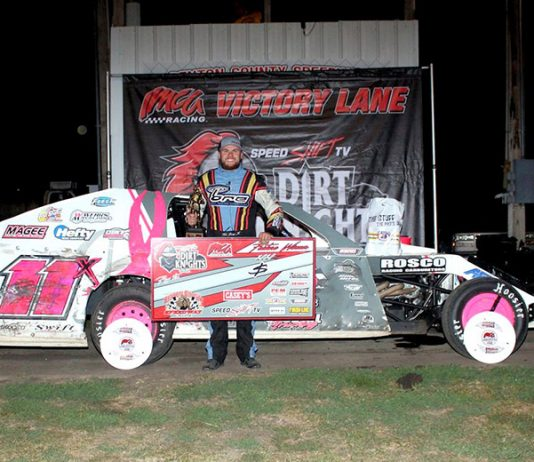 Tom Berry saw his Benton County Speedway success continue Sunday night with the $1,000 IMCA Modified Dirt Knights Tour feature win. (Jim Wittke Photo)