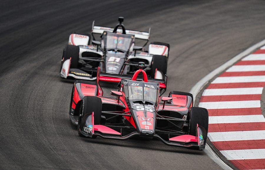 Alex Palou (55) leads Rinus VeeKay during Saturday's NTT IndyCar Series race at World Wide Technology Raceway. (IndyCar Photo)