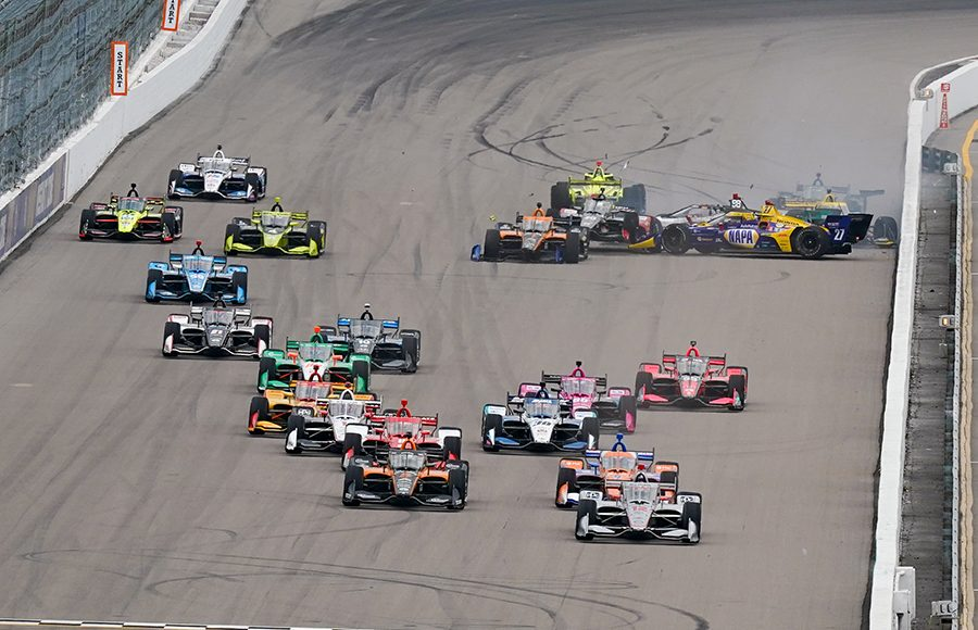 Drivers at the back of the pack collide at the start of Saturday's NTT IndyCar Series event at World Wide Technology Raceway. (IndyCar Photo)