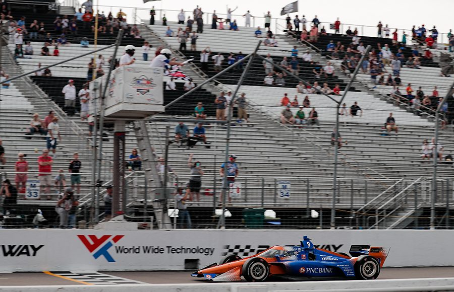 Scott Dixon takes the checkered flag to win Saturday's NTT IndyCar Series event at World Wide Technology Raceway. (IndyCar Photo)