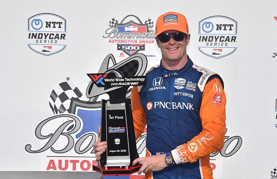 Scott Dixon poses in victory lane after winning Saturday's NTT IndyCar Series event at World Wide Technology Raceway. (IndyCar Photo)