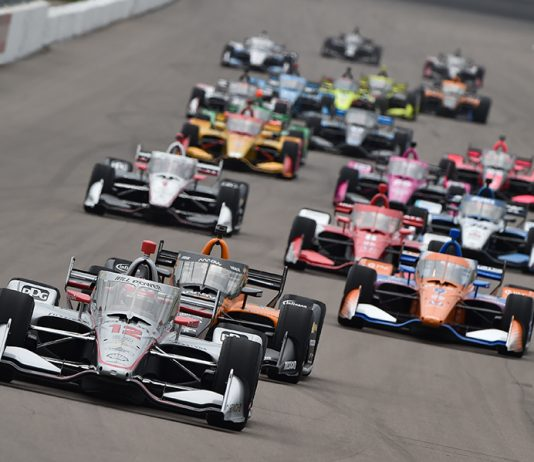Will Power (12) leads the pack during Saturday's NTT IndyCar Series race at World Wide Technology Raceway. (IndyCar Photo)