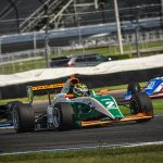 Sting Ray Robb powered to an Indy Pro 2000 victory Thursday on the Indianapolis Motor Speedway road course.