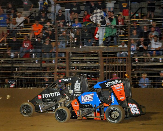 Cannon McIntosh leads Chris Windom (89) under the checkered flag. (TWC photo)