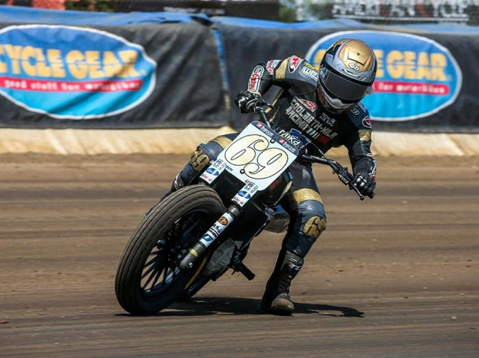 Sammy Halbert topped Saturday's American Flat Track SuperTwins event at the Springfield Mile.