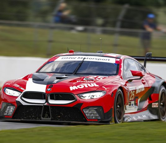 Connor De Phillippi and Bruno Spengler drove the No. 25 BMW Team RLL BMW M8 GTE to victory in the GT Le Mans class Saturday at Michelin Raceway Road Atlanta. (IMSA Photo)
