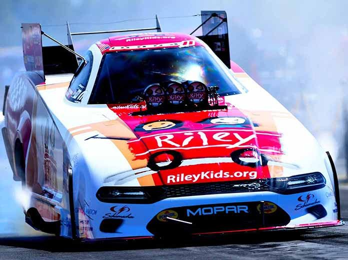 Tommy Johnson Jr. topped Funny Car qualifying for the U.S. Nationals on Saturday at Lucas Oil Raceway. (Kent Steele Photo)