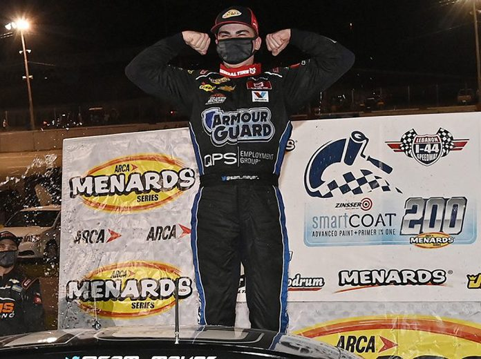 Sam Mayer won Saturday's ARCA Menards Series event at Lebanon I-44 Speedway. (Jeff Curry/ARCA Racing Photo)