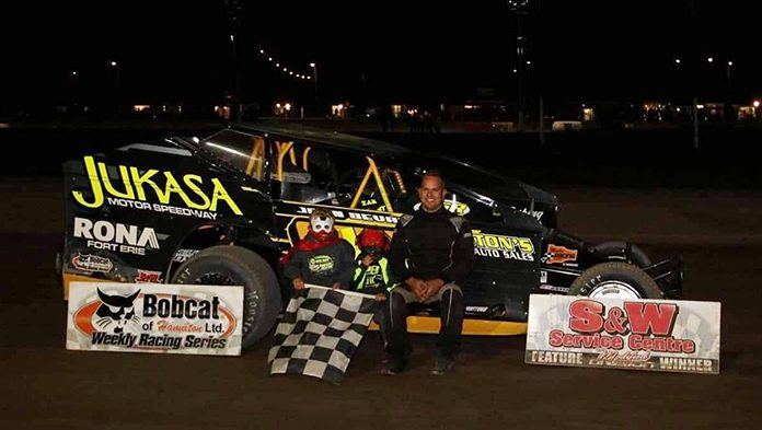 Gary Lindberg in victory lane Saturday at Merrittville Speedway.