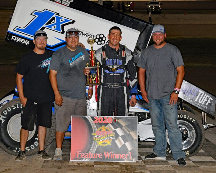Cody Lampe earned his first sprint car victory Saturday at Dodge City Raceway Park.