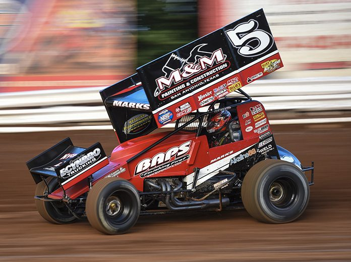 Brent Marks, shown here in July at Williams Grove Speedway, won Saturday's 410 sprint car feature at Port Royal Speedway. (Dennis Bicksler Photo)