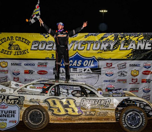 Mason Oberkramer claimed his first Lucas Oil MLRA victory Saturday night at Lucas Oil Speedway. (GS Stanek Racing Photography Photo)