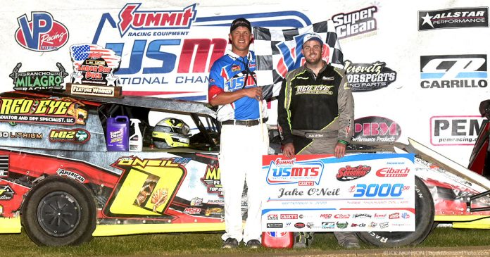 Jake O'Neil topped the United States Modified Touring Series field Saturday at Deer Creek Speedway.